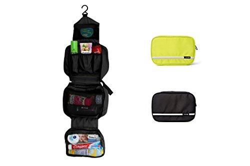 Praktische Torido Kulturtasche zum Aufhängen - wasserabweisende Kosmetiktasche, faltbarer Kulturbeutel Schwarz