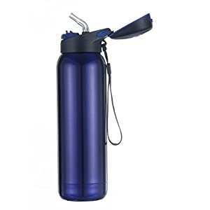 Kooyi Vacuum Insulated Sports Water Bottle 500 ML, Stainless Steel Flask Travel Mug with Built-in Straw - BPA Free (Blue)