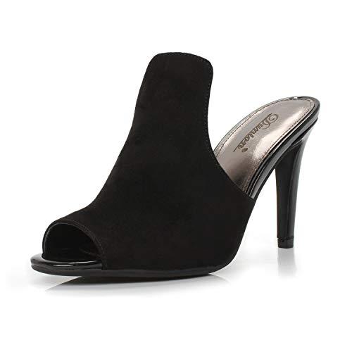 DUNION Women's Brody Comfortable Peep Toe Stiletto High Heel Dress Slip on Mules,Black,9.5 B(M) US
