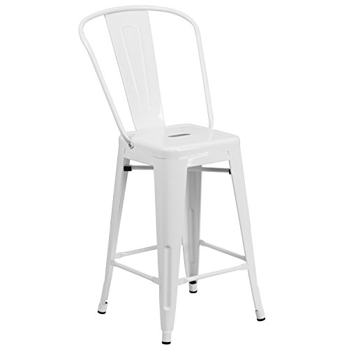 Flash Furniture 24'' High White Metal Indoor-Outdoor Counter Height Stool with Back by Flash Furniture