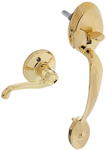 Schlage FE285PLY505FLARH Lifetime Polished Brass Plymouth Lower Handleset for Electronic Keypad with Flair Interior Right Handed Lever
