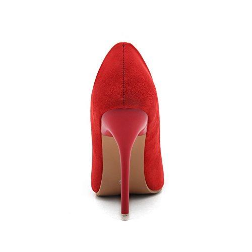Pointu Couleur AllhqFashion Femme Rouge Chaussures Unie à Tire Dépolissement Talon Haut Légeres px0qB