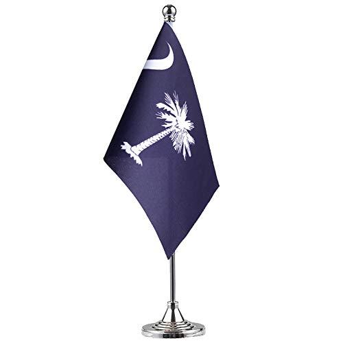 - GentleGirl.USA South Carolina State Flag South Carolina SC Flag, Small Mini South Carolina State Flag Desk Flag Stick Office Table Flag on Stand Base,Festival Events Celebration,Home Decoration