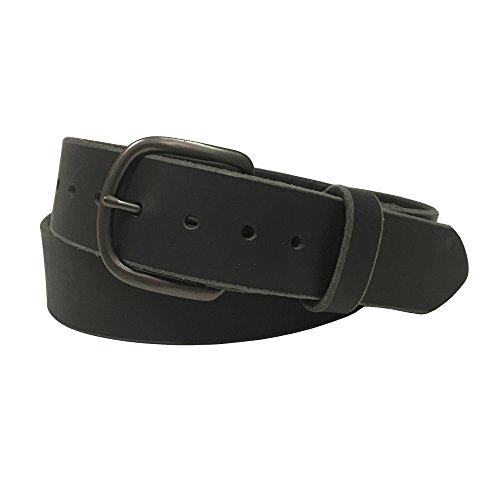 Jean Belt, Black Crazy Horse Water Buffalo Leather, 9 Ounce - Gun Metal Buckle - Handmade in the USA! By Exos - Size: 46