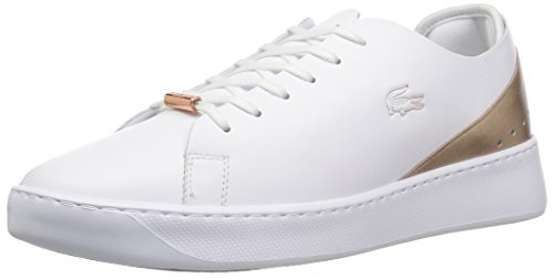 Lacoste Lace Sneakers (Lacoste Women's EYYLA Sneaker, White/Natural, 10 Medium US)
