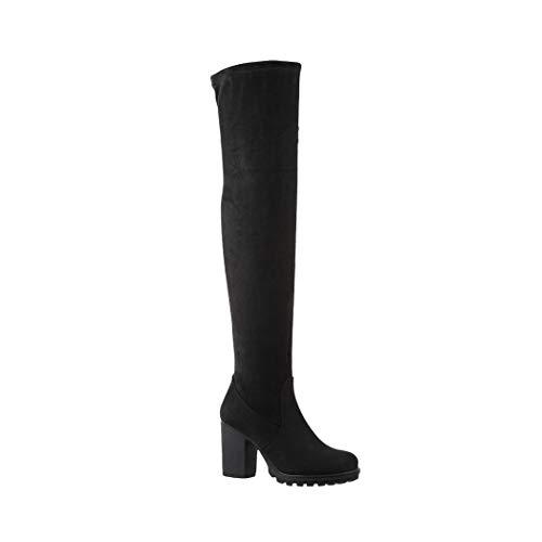 Heels Blockabsatz Black Overknee Stiefel Wildlederoptik High chunkyrayan Bequeme Damen Elara OXqUw