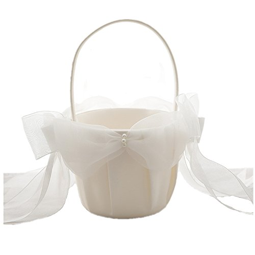 AZDRESS Ivory Satin Organza Wedding Flower Girl Basket with Bowknot by AZDRESS