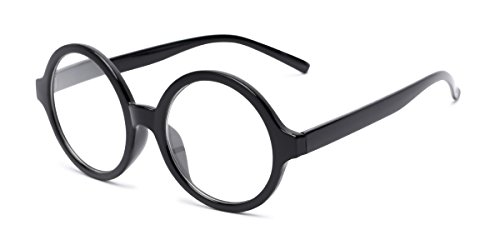 (Readers.com Fully Magnified Reading Glasses: The Architect, Trendy Round Full Frame Reader for Women and Men - Black, 2.50)