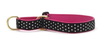"""Up Country Black/White Dot Martingale Dog Collar: Large (1"""" Width)"""