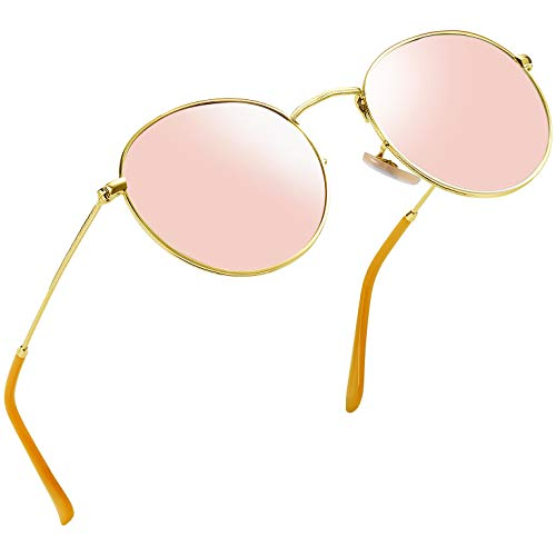 Rose Tinted Lens - Joopin Vintage Round Sunglasses for Women