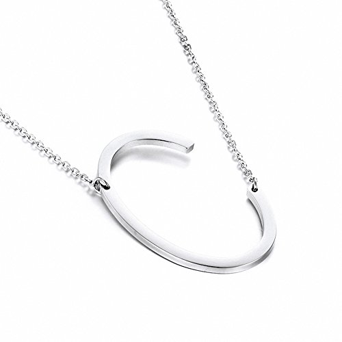 Jwoolw Stainless Sideways Alphabet Necklace