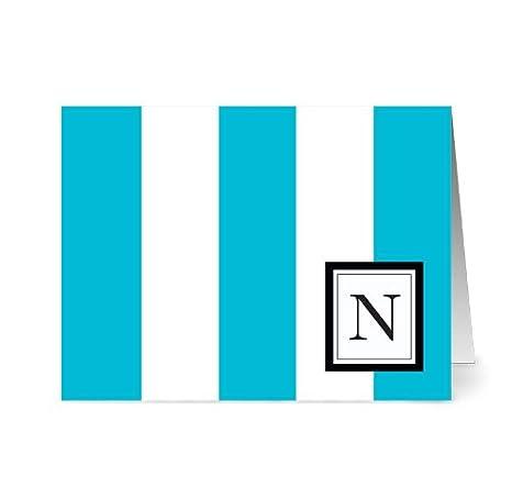 Amazon.com: Monograma moderno de rayas anchas, 24 tarjetas ...