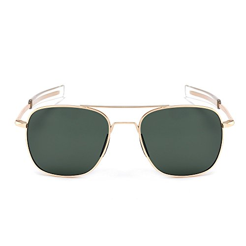 SUNGAIT Men's Military Style Polarized Pilot Aviator Sunglasses - Bayonet Temples (Gold Frame/Green Lens, - Square Aviator
