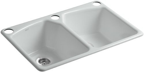 Kohler K-6491-3U-95 Tanager Undercounter Kitchen Sink with Single-Hole Faucet Drilling and Two Accessory Holes and Installation Kit, Ice Grey