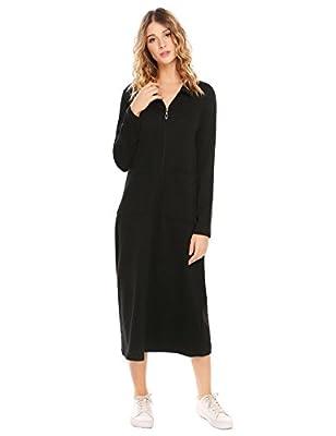 Vansop Women Long Robe Long Sleeve Zip-Front Bathrobe With Pockets Sleepwear Dress(M-XXXL)
