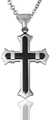 Men Cross Two Line Width 3.3CM Height 4.5CM Stainless Steel Pendant Necklace Black Aooaz (2 Piece Sexy Dark Angel Costumes)