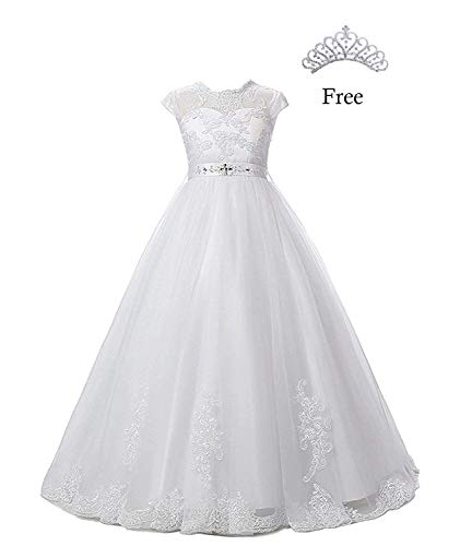 Magicdress White First Communion Baptism Dresses for Girls 7-16 Lace Princess Flower Girls Gown 10 ()
