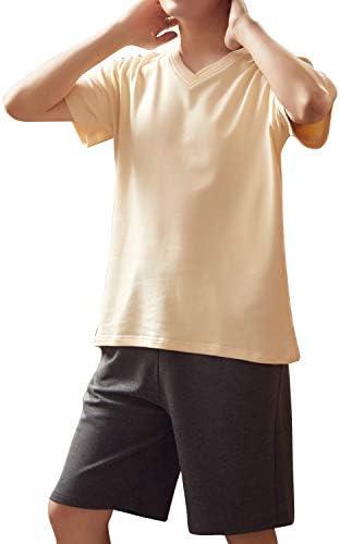 ペア パジャマ YGOCH カップル メンズ 上下 セット レディース 部屋着 100%綿 ペアルック ルームウェア おしゃれ 半袖 おそろい コーデ 春 かわいい コットン 紳士 コムサ 寝巻き