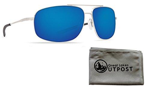 Costa Shipmaster Blue Mirror 580P Brushed Palladium Frame Sunglasses Bundle with Cloth (Costa Del Mar Palladium)