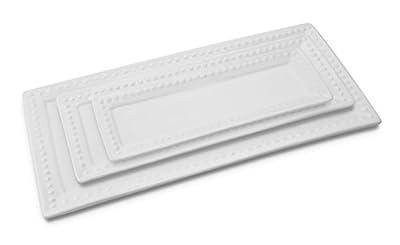 KOVOT Porcelain Rectangular Platter Set of 3, White