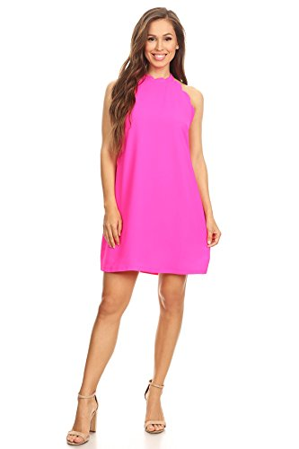 Via Jay Women's Solid Sleeveless Loose Casual Comfy A-Line Short Dress (Hot Pink, Medium)