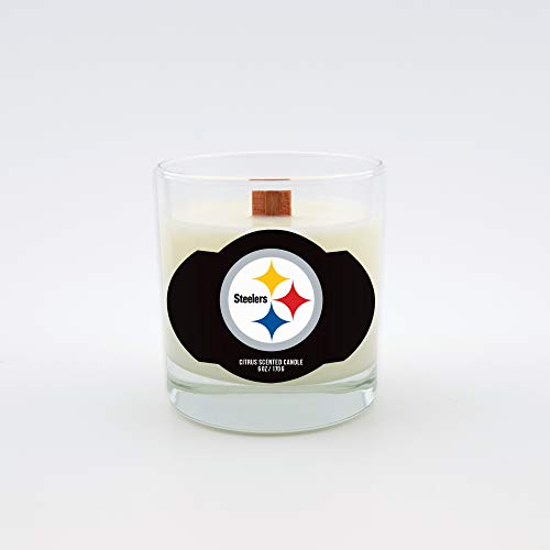Steelers Candle Nfl Pittsburgh (Worthy Promotional NFL Pittsburgh Steelers Citrus Scented 6 oz Soy Wax Candle, Wood Wick)