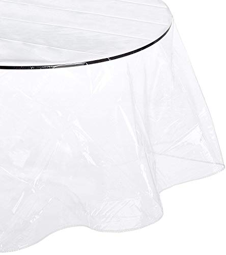Crystalline Super Clear and Durable 100% Vinyl Tablecloth. (90 Inches Round, Crystal Clear)