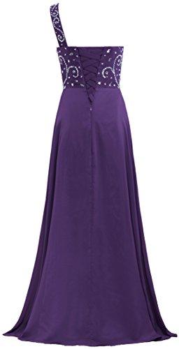 One Chiffon Gown Long Prom Bead Grape Women's ANTS Shoulder Dresses q5wXxEqU