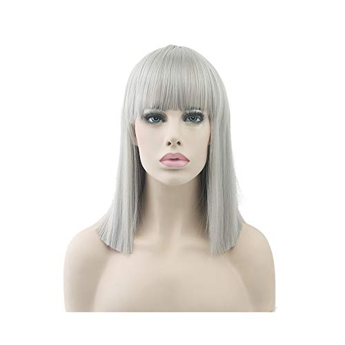 (Short Straight Costume None Lace Wig High Temperature Fiber Synthetic Hair Pink Black Women Party Hairpiece Cosplay)
