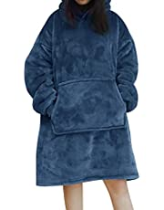 AUSELECT Blanket Sweatshirt, Oversized Hoodie Wearable Blanket, Soft Warm Comfortable Giant Front Pocket for Adults Men Women Teens Friends, Blue