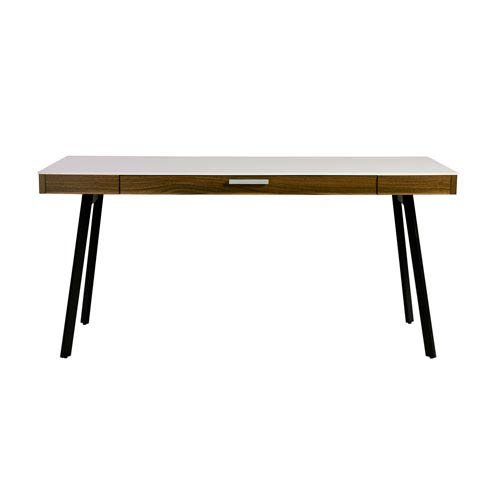 Eurostyle Hart Desk in Black with White Frame (Desk Euro Writing Style)