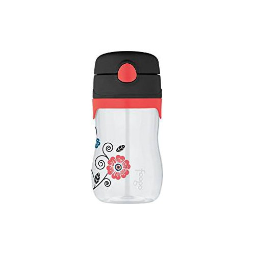 THERMOS FOOGO 11-Ounce Straw Bottle, Poppy Patch Pattern