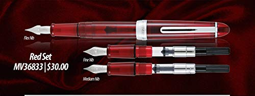 Medium /& Omniflex nibs Monza 3 Red Fountain Pen Set-three removable nibs with Fine