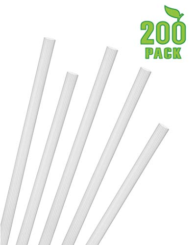 Greenhouse Jumbo Smoothie Straws Pack of 200, Compostable Biodegradable PLA Unwrapped Wide Shake Drink Straws .30