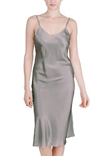 (OSCAR ROSSA Women's Luxury Silk Sleepwear 100% Silk Full Slip Chemise Lingerie Nightgown Silver Grey)