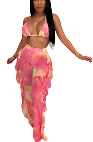 Lucuna Womens Sexy Clubwear Sheer Mesh See Through Ruffle Bikini Bottom Cover Up Swimsuit 2 Piece ()