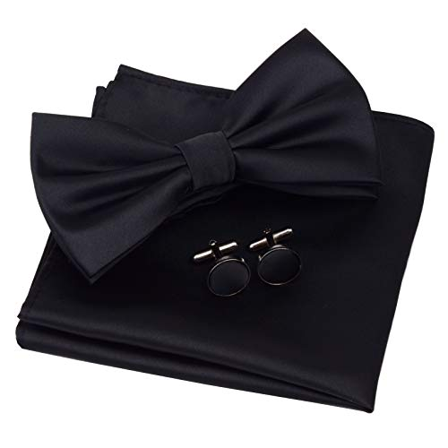 GUSLESON Mens Plain Color Black Pre-tied Bow Tie and Pocket Square Cufflink Set for Wedding (0570-07)