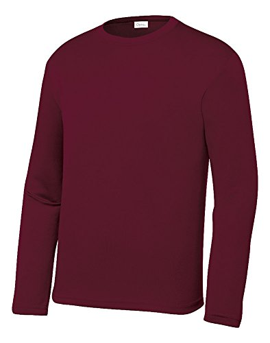 OPNA Youth Athletic Performance Long Sleeve Shirts for Boys or Girls-Moisture Wicking, Large, Maroon
