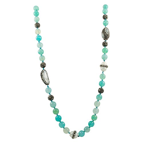 Round South Sea Pearl Green (Just Give Me Jewels Aqua Blue Green Dragonvein Agate Beads and Cultured Pearl Long Strand Necklace, 32