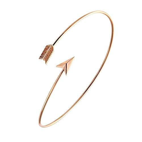 Adjustable Arrow Bracelets Simple Wrapped Bangles Women Jewelry 4 Tone for Choose