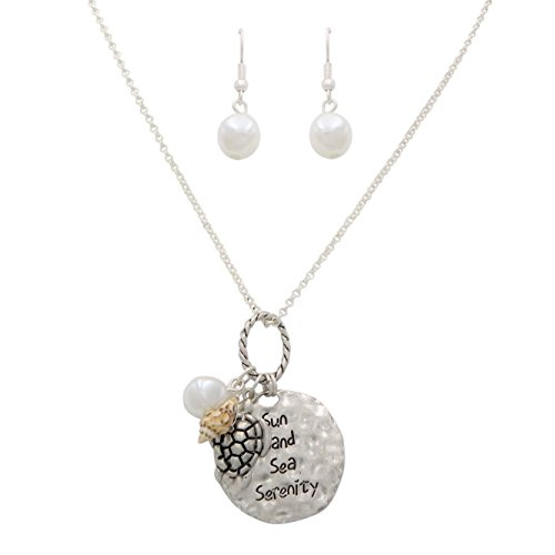 Rosemarie Collections Women's Sun Sand Sea Serenity Pendant Necklace Fashion Jewelry Set (Turtle Charm) (Turtle Pendant Pearl Sea)