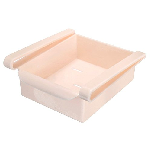 (Chinatera Slide Kitchen Fridge Freezer Space Saver Organizer Storage Rack Shelf Holder (Pink))