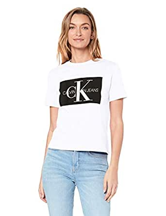 Calvin Klein Jeans Women's Iconic Monogram Box Straight T Shirt, Bright White/ Ck Black, S