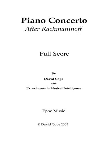 Piano Concerto (After Rachmaninoff) by CreateSpace Independent Publishing Platform