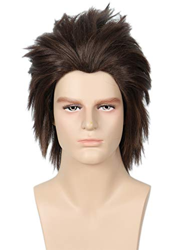 Codeven Short Brown Wigs Halloween Costume Cosplay FluffyParty Wig for Men ()