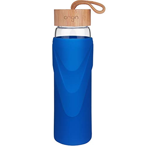 Origin - Best WIDEMOUTH BPA-Free Glass Water Bottle with Protective Silicone Sleeve and Bamboo Lid - Dishwasher Safe (Royal Blue, 32 Ounce) 32 Ounce Bubble Bottle