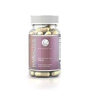 HAIRWORTHY – Crecimiento Natural del Pelo Vitaminas Veganas | Suplemento para Cabello más Largo, Fuerte y espeso | 5000 mcg Biotina | Multivitamínico para cabello, piel y uñas