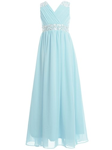 FAIRY COUPLE Girl's Embellished V-Neck Long Flower Girl Dress for Wedding K0156 6 Sky Blue