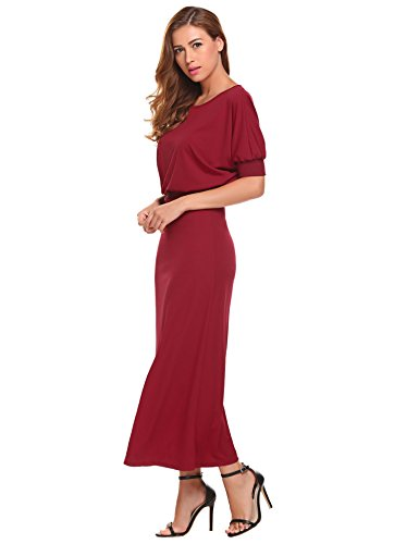 Dress Elastic Wine A Line Sleeve Casual Women's Neck Waist Zeagoo O Maxi Red Puff wFRPxxYa