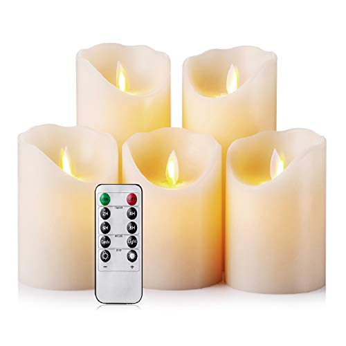 - Flameless Candles LED Candles Realistic Moving Set of 5 Ivory Battery Candles Real Wax Pillar with 10-key Remote Control Timer- 2/4/6/8 Hours